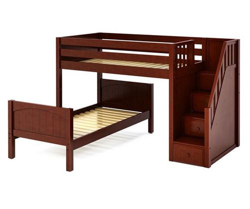 Maxtrix WANGLE L-Shaped Bunk Bed with Stairs Twin Size Chestnut | Maxtrix Furniture | MX-WANGLE-CX