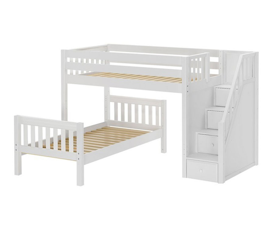 Maxtrix WANGLE L Shaped Bunk Bed With Stairs Twin Size White
