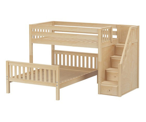 Maxtrix WIGGLE Bunk Bed with Stairs Twin over Full Size Natural   Maxtrix Furniture   MX-WIGGLE-NX
