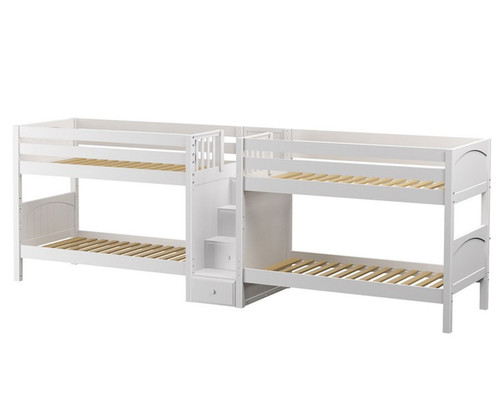 Maxtrix WONDERFUL Quadruple Low Bunk Bed with Stairs Twin Size White | Maxtrix Furniture | MX-WONDERFUL-WX