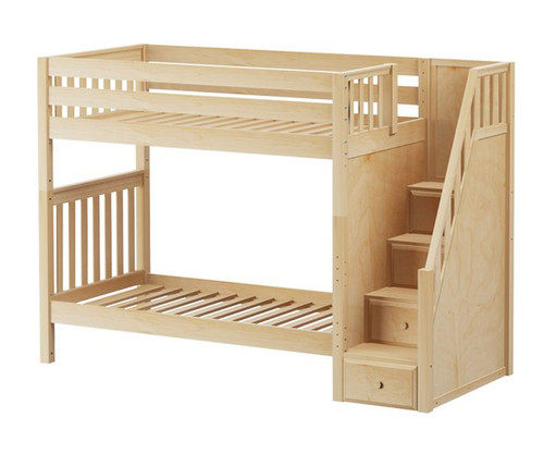 Maxtrix WOPPER High Bunk Bed with Stairs Twin Size Natural   Maxtrix Furniture   MX-WOPPER-NX