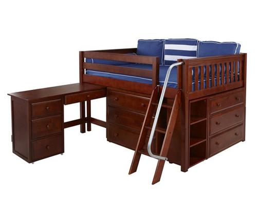 Maxtrix XL Low Loft Bed w/ Dressers & Desk Full Size Chestnut | Maxtrix Furniture | MX-XL4L-CX