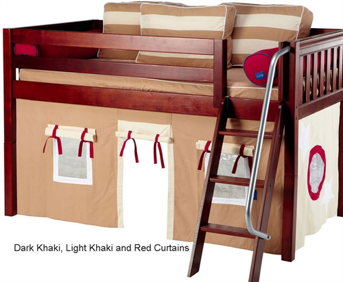 Bunk Bed Curtains Dk. Khaki, Lt. Khaki & Red | Maxtrix | MX3220-030