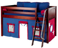 Maxtrix Low Loft Bed Chestnut with Angled Ladder and Curtains   Matrix Furniture   MXEASYRIDER21C