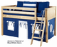 Maxtrix Low Loft Bed Natural with Angled Ladder and Curtains   Matrix Furniture   MXEASYRIDER21N