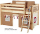 Maxtrix Low Loft Bed Natural with Angled Ladder and Curtains   26716   MXEASYRIDER21N