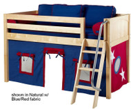 Maxtrix Low Loft Bed Natural with Angled Ladder and Curtains 1   Matrix Furniture   MXEASYRIDER22N