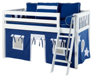 Maxtrix Low Loft Bed White with Angled Ladder and Curtains   Maxtrix Furniture   MXEASYRIDER22W