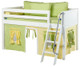 Maxtrix Low Loft Bed White with Angled Ladder and Curtains | 26718 | MXEASYRIDER22W