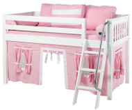 Maxtrix Low Loft Bed White with Angled Ladder and Curtains 1   Maxtrix Furniture   MXEASYRIDER23W