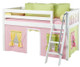 Maxtrix Low Loft Bed White with Angled Ladder and Curtains 1   26719   MXEASYRIDER23W