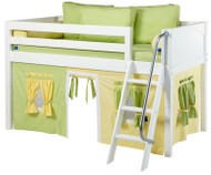 Maxtrix Low Loft Bed White with Angled Ladder and Curtains 2   Maxtrix Furniture   MXEASYRIDER24W