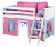 Maxtrix Low Loft Bed White with Angled Ladder and Curtains 3   26721   MXEASYRIDER25W