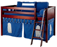 Maxtrix Low Loft Bed Chestnut with Angled Ladder and Curtains 1   Matrix Furniture   MXEASYRIDER26C
