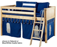 Maxtrix Low Loft Bed Natural with Angled Ladder and Curtains 2   Matrix Furniture   MXEASYRIDER26N