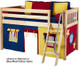 Maxtrix Low Loft Bed Natural with Angled Ladder and Curtains 2 | Matrix Furniture | MXEASYRIDER26N