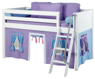 Maxtrix Low Loft Bed White with Angled Ladder and Curtains 4   Maxtrix Furniture   MXEASYRIDER27W