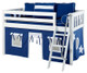 Maxtrix Low Loft Bed White with Angled Ladder and Curtains 4 | Maxtrix Furniture | MXEASYRIDER27W