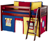 Maxtrix Low Loft Bed Chestnut with Angled Ladder and Curtains 2   Matrix Furniture   MXEASYRIDER29C