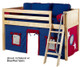 Maxtrix Low Loft Bed Natural with Angled Ladder and Curtains 3   26726   MXEASYRIDER29N