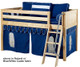 Maxtrix Low Loft Bed Natural with Angled Ladder and Curtains 3   Matrix Furniture   MXEASYRIDER29N