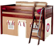 Maxtrix Low Loft Bed Chestnut with Angled Ladder and Curtains 3   Matrix Furniture   MXEASYRIDER30C