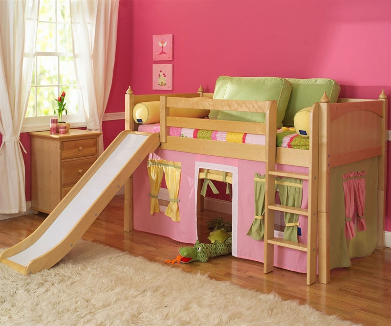 Maxtrix Furniture Kids Twin And Full Low Loft Bed Beds With Slide