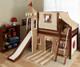 Maxtrix Low Loft Bed Chestnut with Curtains, Slide, Tower & Tent | Matrix Furniture | MXWOW21C