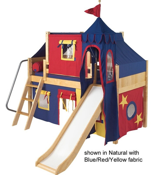Maxtrix Low Loft Bed Natural with Curtains, Slide, Tower & Tent | Matrix Furniture | MXWOW21N