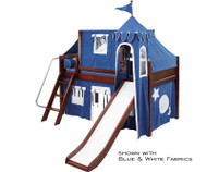 Maxtrix Low Loft Bed Chestnut with Curtains, Slide, Tower & Tent 1 | Matrix Furniture | MXWOW22C