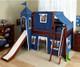 Maxtrix Low Loft Bed Chestnut with Curtains, Slide, Tower & Tent 1 | Matrix Furniture | MXWOW22C