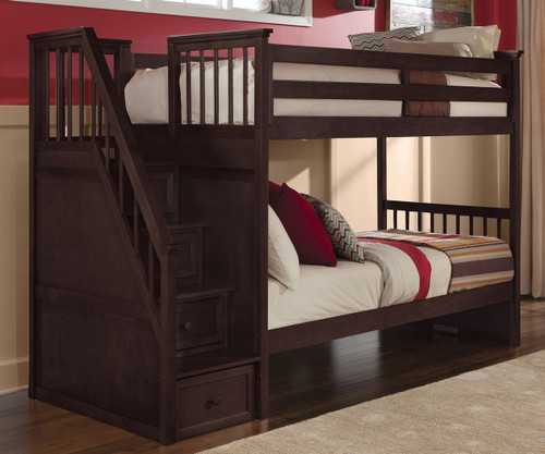 School House Staircase Bunk Bed Chocolate | NE Kids | NE-5090BUNK
