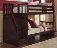 School House Staircase Bunk Bed Chocolate | NE Kids | NE-5090BUNK