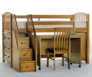 School House Junior Store and Study Low Loft Bed with Stairs Pecan   NE Kids   NE-6060STDY-STAIR