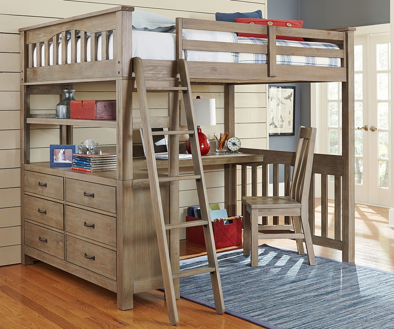 10080 Full Size Loft Bed With Desk In Driftwood Finish Everglades Collection Ne Kids Furniture