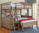 Everglades Loft Bed Full Size with Full Size Lower Bed Driftwood | NE Kids Furniture | NE10080-LWB