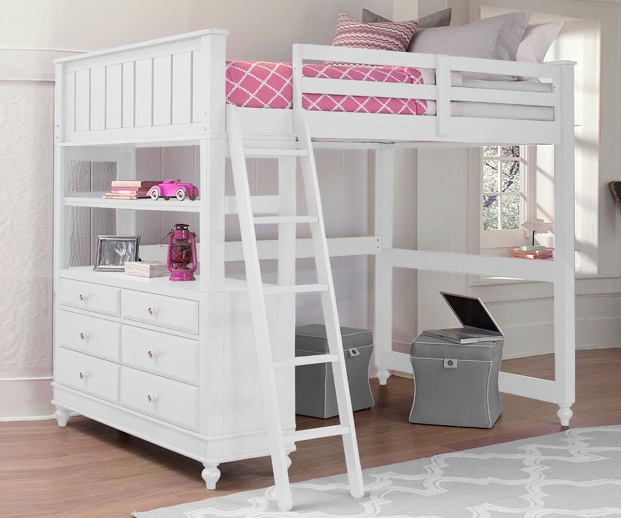 Picture of: White Loft Bed With Desk