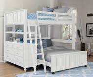 Lakehouse Loft Bed Full Size with Full Size Lower Bed White | NE Kids | NE1045-LWB