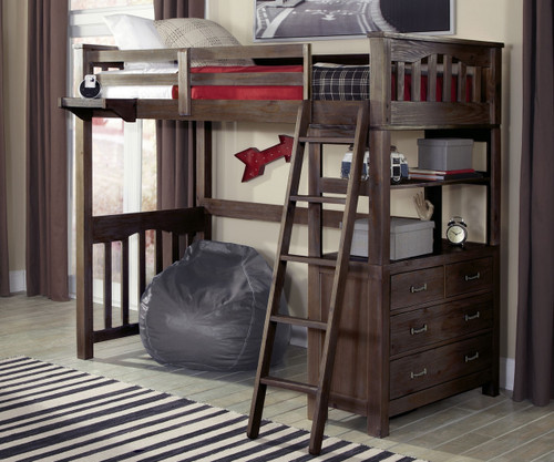 Everglades Loft Bed Twin Size Espresso   NE Kids Furniture   NE11070