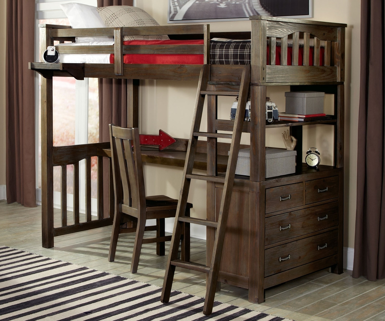 11070 Twin Size Loft Bed With Desk Everglades Collection Ne Kids Furniture