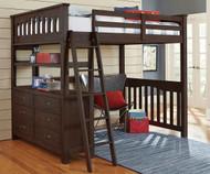 Everglades Loft Bed Full Size Espresso   NE Kids Furniture   NE11080