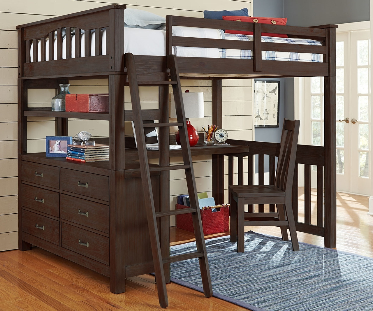 Picture of: 11080 Full Size Loft Bed With Desk In Espresso Finish Everglades Collection Ne Kids Furniture