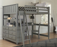 Lakehouse Loft Bed with Desk Full Size Stone | NE Kids | NE2045-Desk