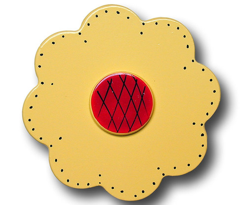 Yellow Lolli Flower Drawer Pull   One World   OW-DP32531