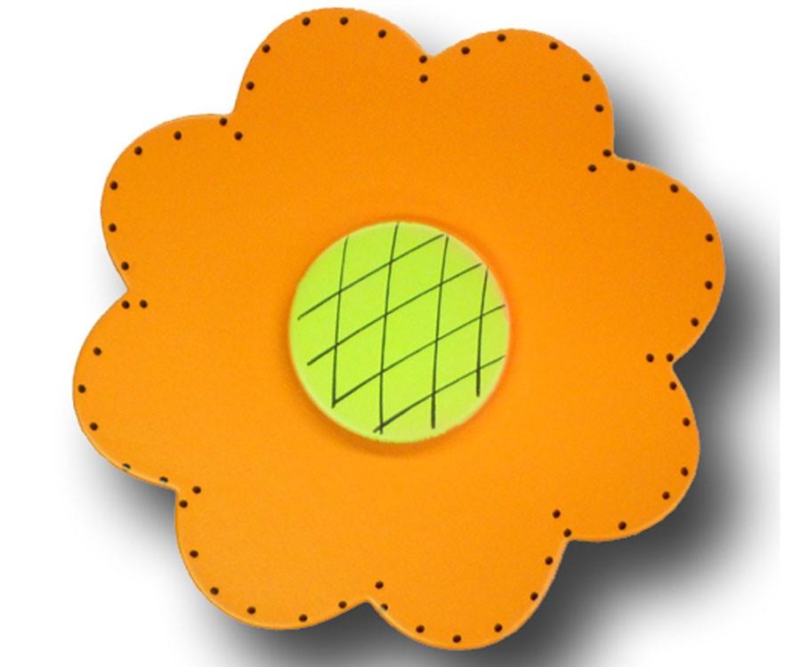 One World Satin Orange Lolli Flower Drawer Pull
