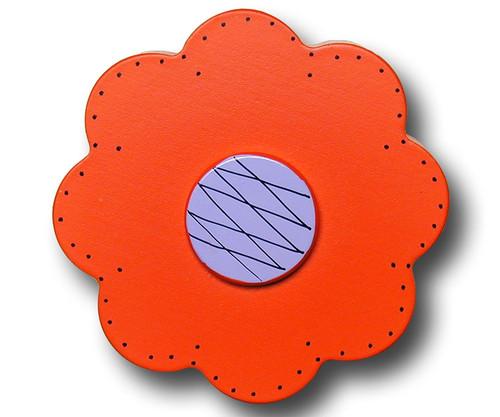 Orange Lolli Flower Drawer Pull   One World   OW-DP44559