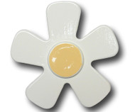 Pastel White Daisy Drawer Pull | One World | OW-DP507