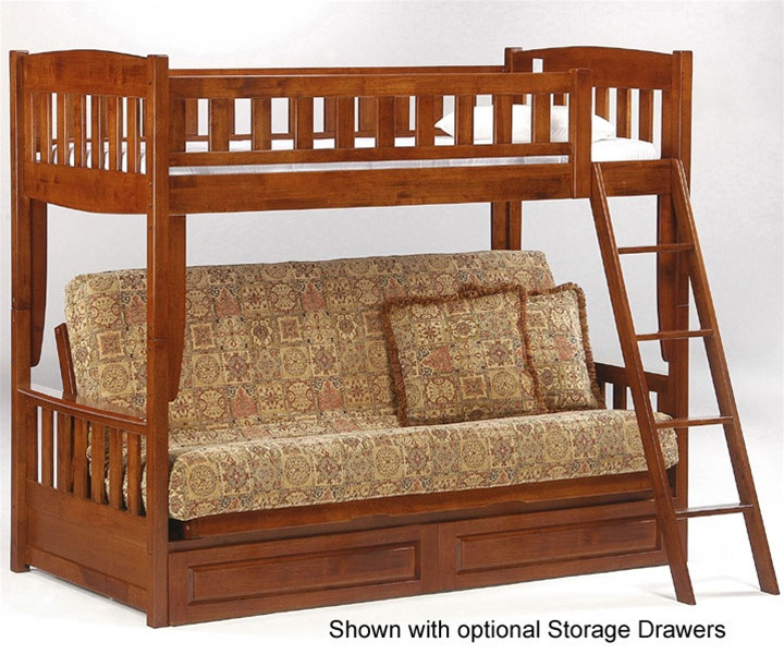 Night And Day Spice Cinnamon Twin Over Futon Bunk Bed In Cherry