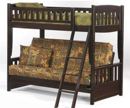 Spice Twin over Futon Bunk Bed Chocolate | New Energy Furniture | SPICE-FB-CHT