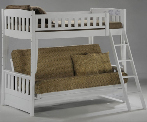 Spice Twin over Futon Bunk Bed White | New Energy Furniture | SPICE-FB-W